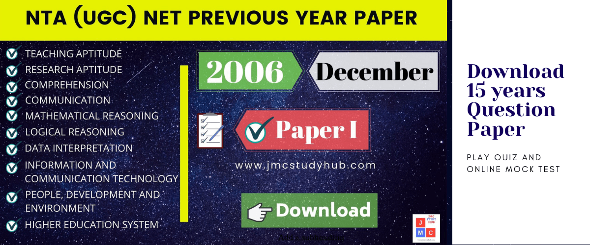 Download 15 years previous ugc net paper 1 question papers, play quiz and online mock test