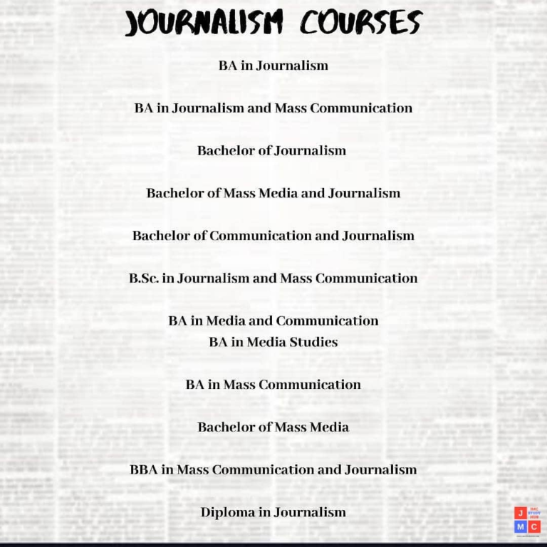 Journalism and Mass Communication Courses- jmc